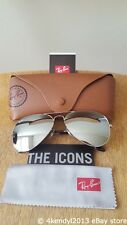 New Ray-Ban RB3026 W3277 62mm Aviator Sunglasses 100% UV Silver Mirror