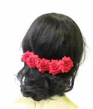 5 x Red Rose Flower Hair Pins Vintage Rockabilly Clip 1950s Bridesmaid Set 1525