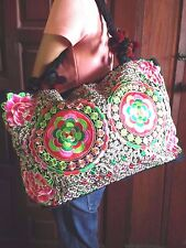 THAI HMONG SHOULDER BAG FLOWER EMBROIDERED SCHOOL BAG BOHEMIAN HANDICRAFT TRIBAL