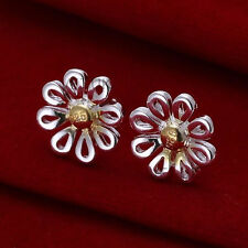 DAISY FLOWER STUD EARRINGS in 925 Sterling Silver Plate, Butterfly Summer Gold