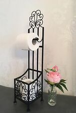 Shabby Chic Toilet Loo Roll Holder Stand Free Standing With Storage Black Scroll