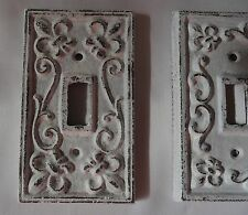 Cast iron single light switch plate shabby cottage fleur lis chic antique white