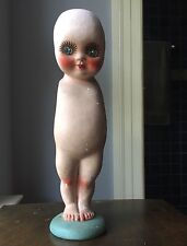 Vintage KEWPIE DOLL Hand Painted CHALK WARE Large 13 inches ANTIQUE Carnival
