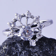 Womens Round Band Ring Clear CZ White Gold Filled Size 5 Free Shipping