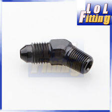 """AN4 4AN AN -4 Male to 1/8"""" NPT 45 Degree Flare Aluminum Adapter Fitting Black"""