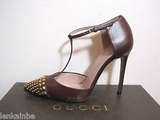 Gucci Leather Studded Capped Toe T Strap Pointy Classic Pumps 39.5 9.5 $895
