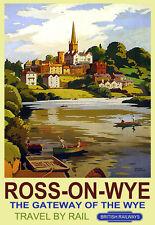 Ross en Wye Gateway de Wye británico Ferrocarriles Tren Ferrocarril viajar cartel impresión