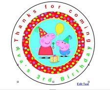 12 Peppa Pig Birthday Favor Label Stickers Personalized for YOU 2.5""