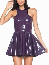 Black Milk Purple PVC Skater Dress Size Large