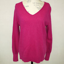 Halogen Bright Pink Magenta 100% 2-Ply Cashmere Long Sleeve V-Neck Sweater XL/1X