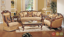 Exposed Wood Traditional Sofa Love Seat & Chair 3 Piece Formal Living Room Set