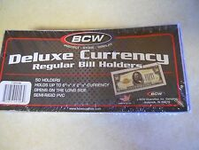 10 BCW Deluxe Vinyl Semi-Rigid Currency Holders Regular Bill Holder Size. USA!
