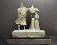 "Modernist / Brutalist Sculpture of Two People, 12"" Tall"