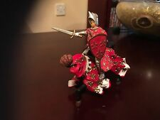 "ELC PAPO RED AND WHITE JOUSTING KNIGHT ON HORSE BACK 5"" FOR PLAY CASTLE FORT"