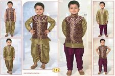 0 Age Boy Kurtha Indian Costume Sherwani Bollywood Suit Magenta Purple And  D8-0
