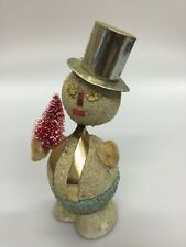 Vintage Snowman Candy Container w/ PINK Bottle Brush Tree Mica Silver Christmas
