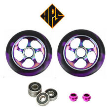 2 PRO STUNT SCOOTER NEO CHROME METAL CORE WHEELS 110mm 88A ABEC 11 BEARINGS 9