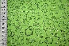Jersey  Stoff kleine Bilder grün  1m