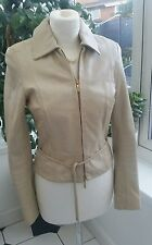 KAREN MILLEN REAL LEATHER JACKET ~ GOLD ZIP ~ LEATHER TIE ~ JL082 A00W