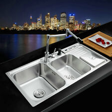 NEW STAINLESS STEEL DOUBLE BOWL UNDER MOUNT KITCHEN SINK RETRACKABLE  FAUCET