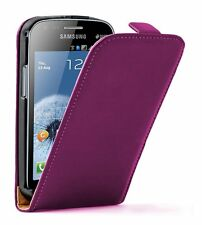 Ultra Slim PURPLE Leather Vertical case cover for Samsung Galaxy S Duos GT-S7562