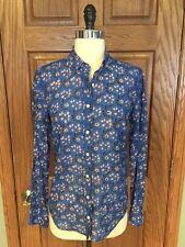 J Crew The Perfect Shirt Top Sz 4 Cotton Silk Blouse Blue Orange Floral