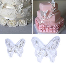 2Pcs 3D Butterfly Cake Fondant Sugarcraft Cookie Plunger Mold Decor Baking Tools