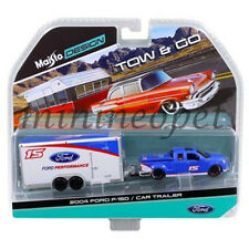MAISTO 15368 J TOW & GO 2004 FORD F-150 PICK UP with CAR TRAILER 1/64 BLUE WHITE