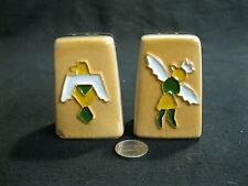 Peach Stoneware Tribal Native Symbol Dance Salt and Pepper Shaker Ceramic     14