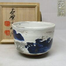 K698: Japanese Kyo-yaki painted pottery tea bowl with great monk's appraisal box