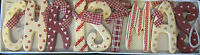 red & white wooden christmas garland decoration vintage shabby chic gift present