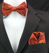 Red & Gold Damask Mens Adjustable Bow Tie & Hanky Wedding Fashion Set Of 2 New