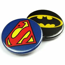 Set of 2 - Superman & Batman Logo - Button Badge - 25mm 1 inch Parody Style