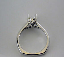 1CT Semi Mount Ring Mounting 14K White Gold With Small Heart Design Euro Shank