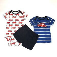 New $30 CARTERS Baby Boys Size 0-3mo 3pc Bodysuit+T-shirt+Shorts Set w/Firetruck