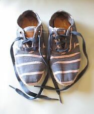 TOMS Navy Blue & Pink Striped Canvas Espadrilles Oxford Sneaker Flat Womens  5.5