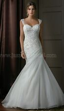 NEW! Jasmine Bridal T172003 Size 16 Pearl organza fit n flair bridal gown