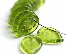 10pc Large Olive Green Leaf Bead Czech Glass 18mm Pressed Flat Leaves 2491