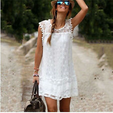 Women Lace Dress Fashion Summer Casual Sleeveless Party Dresses Cheap Clothing