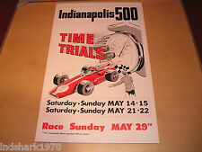 "VINTAGE 1977 OFFICIAL INDIANAPOLIS INDY 500 TIME TRIALS POSTER 14"" X 22"" - MINT"