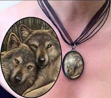 Two Wolves Pendant Necklace. 'Loyal Companions' Design by Lisa Parker