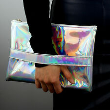 Silver Holographic Envelope Belt Clutch Hologram Metallic pad case Shine Leather
