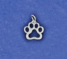 Sterling Silver Pl Paw Print Silhouette Charm Pet Cat Dog Tag Rescue Lover Adopt