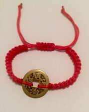 GOOD LUCK FORTUNE Amulet Knotted Braided Red Rope Copper Coin Wrist Bracelet
