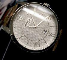 Mens Genuine Hugo Boss Designer Dress Watch Roman Silver Leather