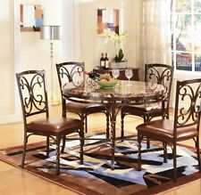 Dark Brown Modern Traditional Style Dining Table 5pc Set Circular Faux Marble