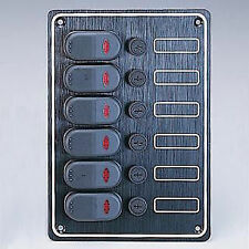 "MARINE BOAT 6 GANG SPLASHPROOF ALUMINUM PLATE SWITCH PANEL LED INDICATOR 5"" X 8"""