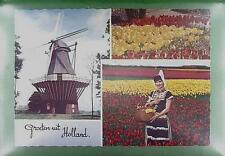 CPA Holland Folk Folklore Mill Windmill Moulin a Vent Windmühle Flowers w58