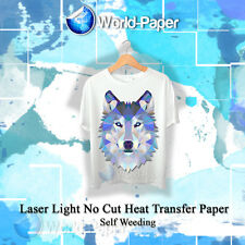 "Laser Iron-On TRIM FREE Heat Transfer Paper Light fabric 10 Sheets 8.5"" x 11"" :)"