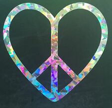 Peace Heart Crystal Holographic Car Vinyl Decal Sticker Window Laptop 09-68